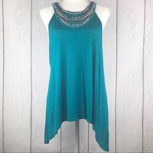 By&by Turquoise Embellished Tank Top XL